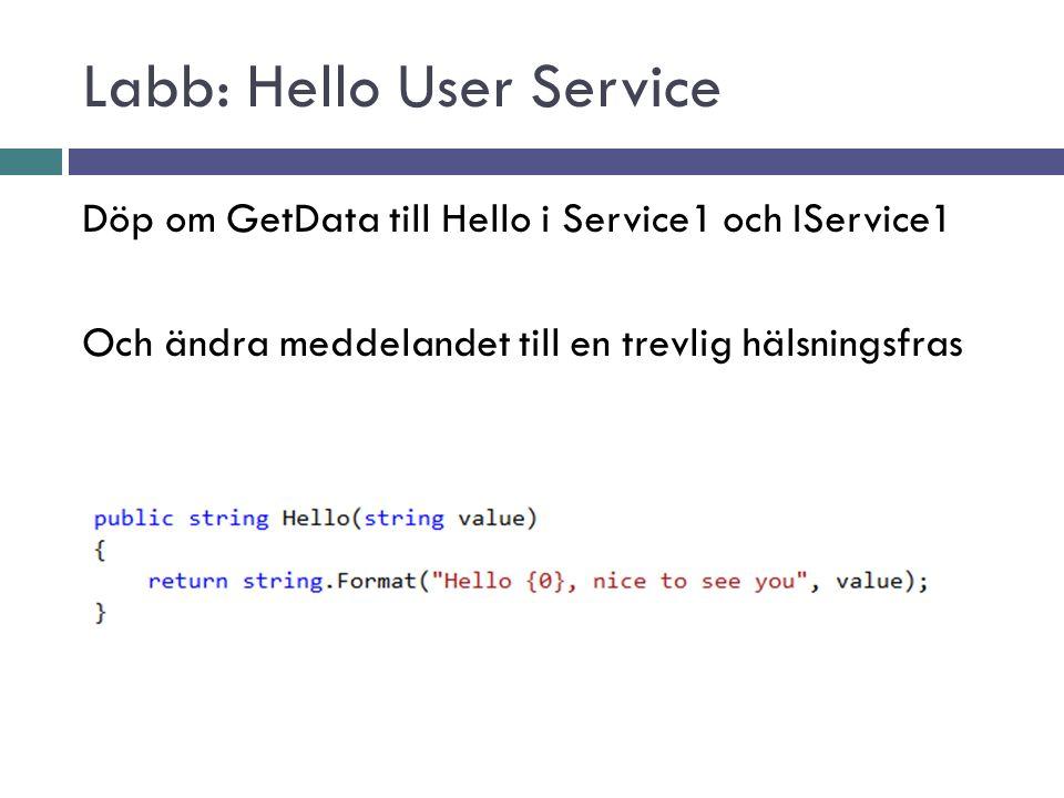 Labb: Hello User Service Döp om GetData till Hello i Service1 och IService1 Och ändra meddelandet till en trevlig hälsningsfras