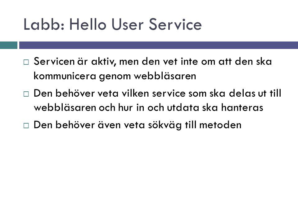 Labb: Hello User Service  Servicen är aktiv, men den vet inte om att den ska kommunicera genom webbläsaren  Den behöver veta vilken service som ska delas ut till webbläsaren och hur in och utdata ska hanteras  Den behöver även veta sökväg till metoden