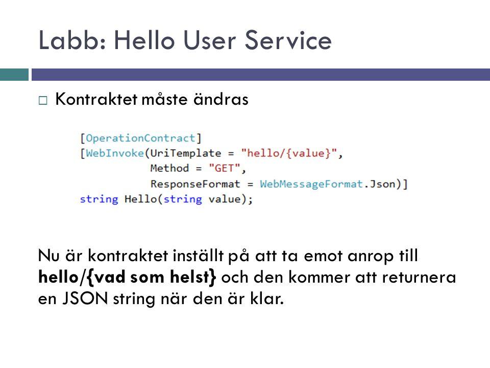 Labb: Hello User Service  Kontraktet måste ändras Nu är kontraktet inställt på att ta emot anrop till hello/{vad som helst} och den kommer att returnera en JSON string när den är klar.