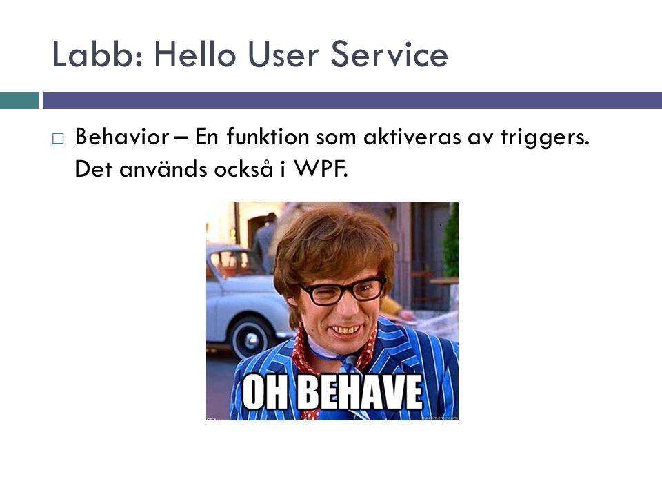 Labb: Hello User Service  Behavior – En funktion som aktiveras av triggers.