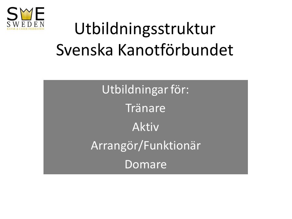 Utbildningsstruktur Svenska Kanotförbundet Utbildningar för: Tränare Aktiv Arrangör/Funktionär Domare
