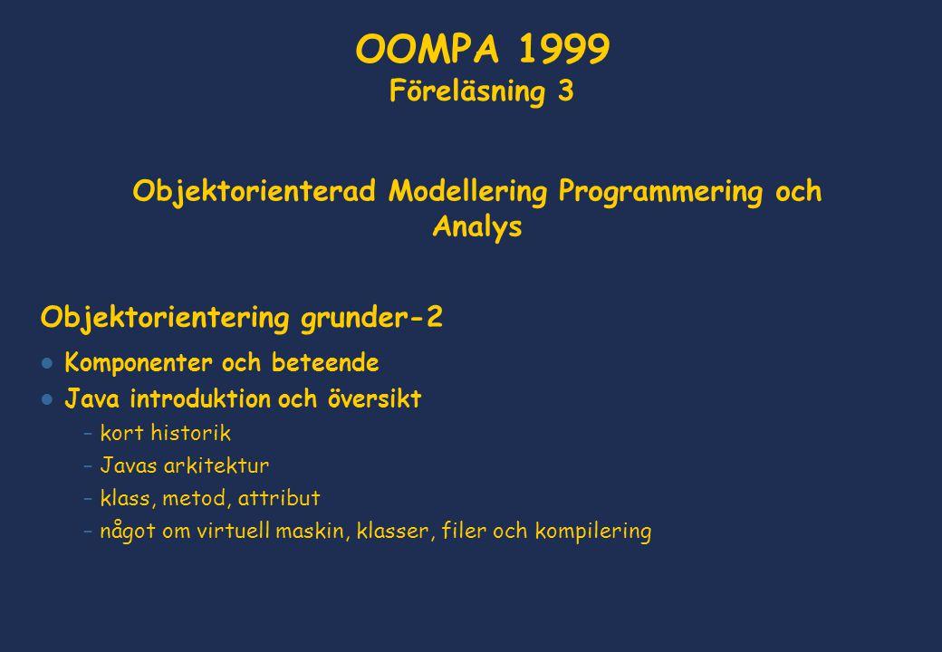 Objektorienterad Modellering Programmering och Analys Objektorientering grunder-2 Komponenter och beteende Java introduktion och översikt – kort histo