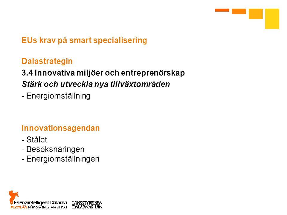 EUs krav på smart specialisering Dalastrategin 3.4 Innovativa miljöer och entreprenörskap Stärk och utveckla nya tillväxtområden - Energiomställning I