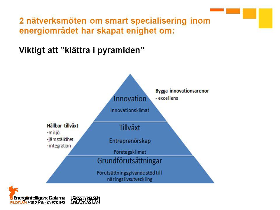 """2 nätverksmöten om smart specialisering inom energiområdet har skapat enighet om: Viktigt att """"klättra i pyramiden"""""""
