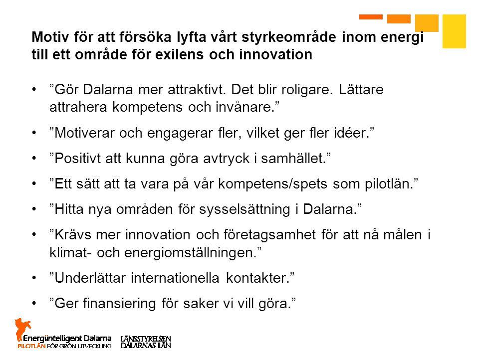 """Motiv för att försöka lyfta vårt styrkeområde inom energi till ett område för exilens och innovation """"Gör Dalarna mer attraktivt. Det blir roligare. L"""