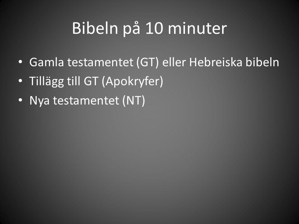 Bibeln på 10 minuter Gamla testamentet (GT) eller Hebreiska bibeln Tillägg till GT (Apokryfer) Nya testamentet (NT)