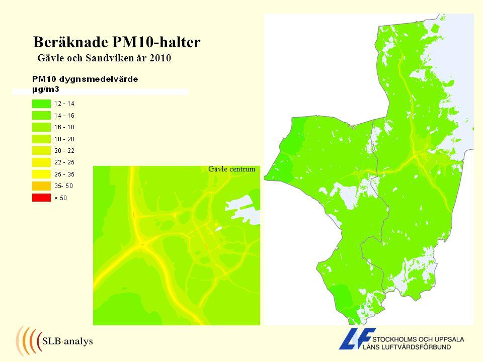 Beräknade PM10-halter Gävle och Sandviken år 2010 Gävle centrum