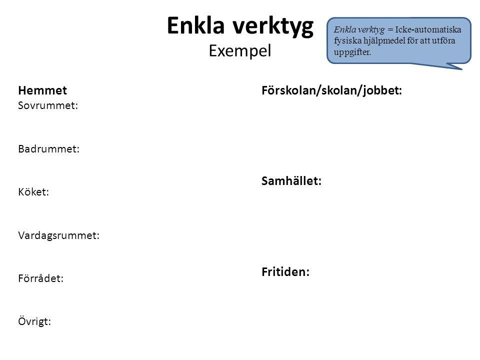 Enkla verktyg Exempel Hemmet Sovrummet: Badrummet: Köket: Vardagsrummet: Förrådet: Övrigt: Förskolan/skolan/jobbet: Samhället: Fritiden: Enkla verktyg