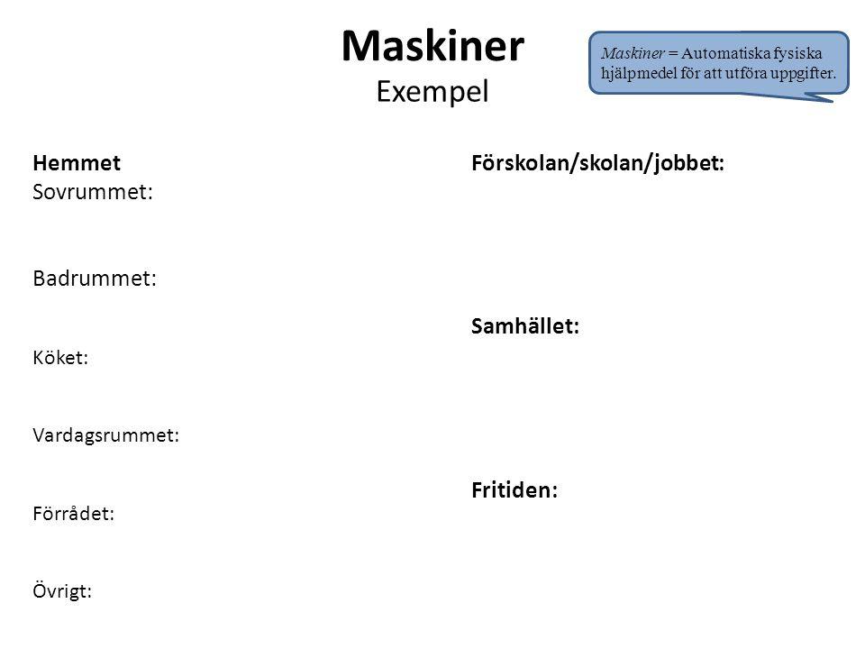 Maskiner Exempel Hemmet Sovrummet: Badrummet: Köket: Vardagsrummet: Förrådet: Övrigt: Förskolan/skolan/jobbet: Samhället: Fritiden: Maskiner = Automat