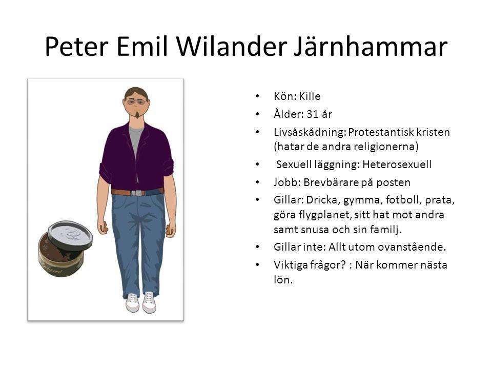 Peter Emil Wilander Järnhammar Kön: Kille Ålder: 31 år Livsåskådning: Protestantisk kristen (hatar de andra religionerna) Sexuell läggning: Heterosexu