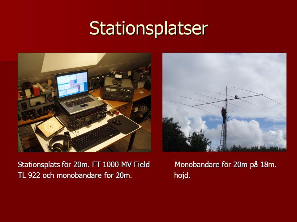 Stationsplatser Stationsplats för 20m. FT 1000 MV Field Monobandare för 20m på 18m. TL 922 och monobandare för 20m. höjd.