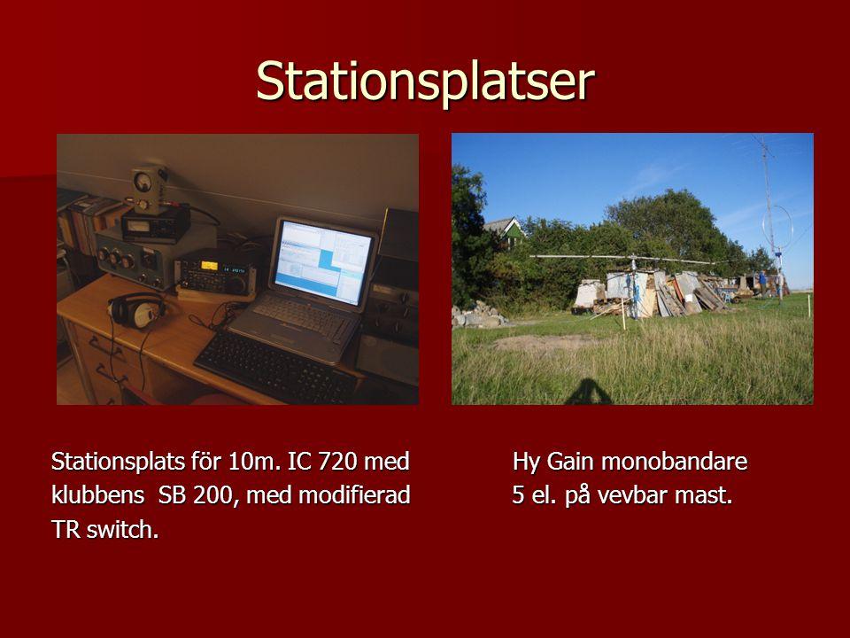 Stationsplatser Stationsplats för 10m. IC 720 med Hy Gain monobandare klubbens SB 200, med modifierad 5 el. på vevbar mast. TR switch.