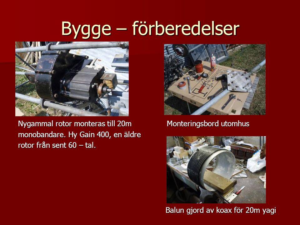 Bygge – förberedelser Nygammal rotor monteras till 20m Monteringsbord utomhus monobandare. Hy Gain 400, en äldre rotor från sent 60 – tal. Balun gjord