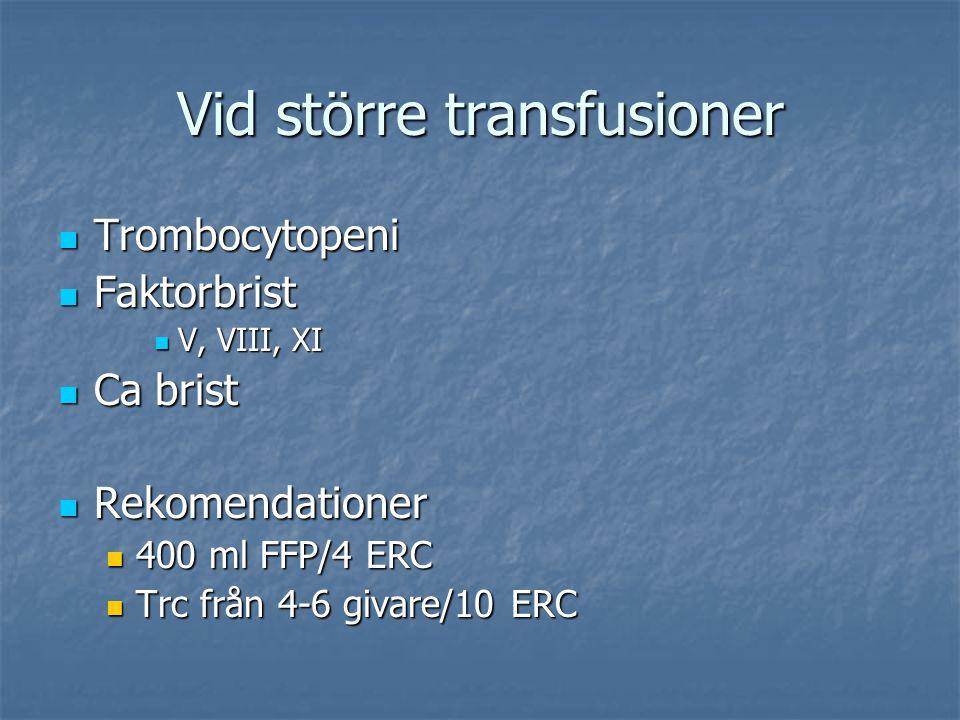 Vid större transfusioner Trombocytopeni Trombocytopeni Faktorbrist Faktorbrist V, VIII, XI V, VIII, XI Ca brist Ca brist Rekomendationer Rekomendation