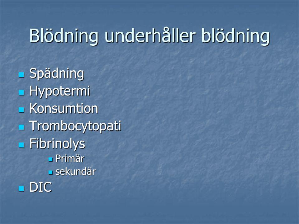 Blödning underhåller blödning Spädning Spädning Hypotermi Hypotermi Konsumtion Konsumtion Trombocytopati Trombocytopati Fibrinolys Fibrinolys Primär P