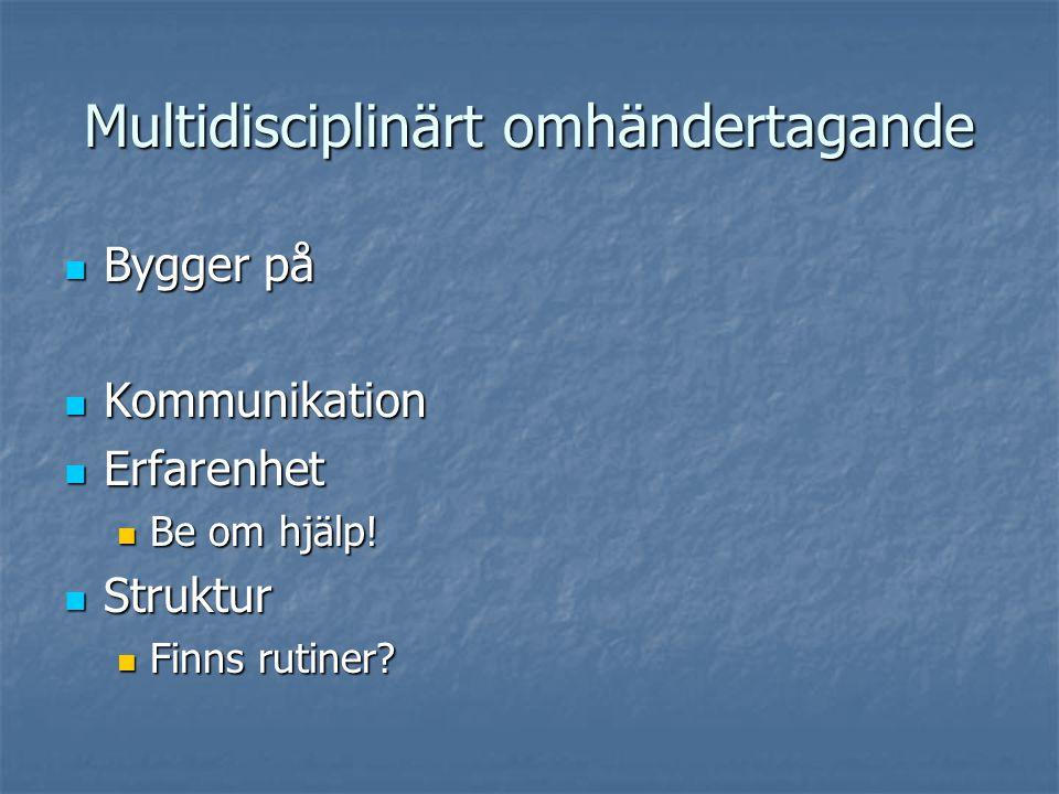 Multidisciplinärt omhändertagande Bygger på Bygger på Kommunikation Kommunikation Erfarenhet Erfarenhet Be om hjälp! Be om hjälp! Struktur Struktur Fi
