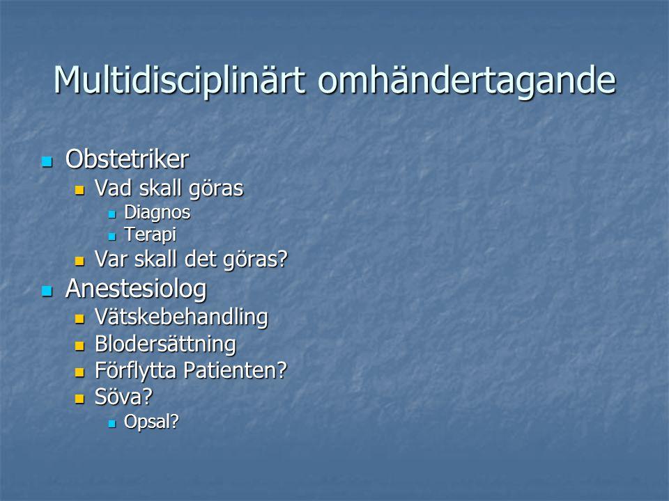 Multidisciplinärt omhändertagande Obstetriker Obstetriker Vad skall göras Vad skall göras Diagnos Diagnos Terapi Terapi Var skall det göras? Var skall