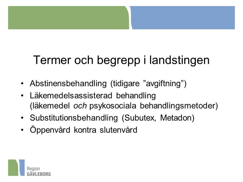 """Termer och begrepp i landstingen Abstinensbehandling (tidigare """"avgiftning"""") Läkemedelsassisterad behandling (läkemedel och psykosociala behandlingsme"""