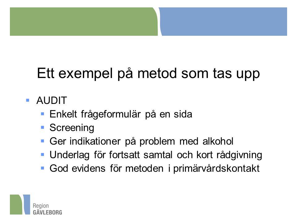 Ett exempel på metod som tas upp  AUDIT  Enkelt frågeformulär på en sida  Screening  Ger indikationer på problem med alkohol  Underlag för fortsa