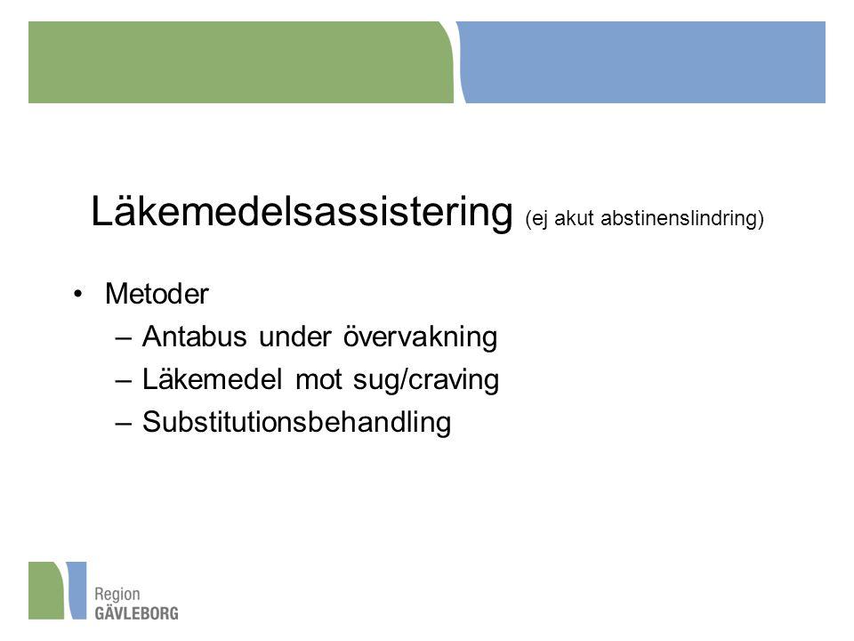 Läkemedelsassistering (ej akut abstinenslindring) Metoder –Antabus under övervakning –Läkemedel mot sug/craving –Substitutionsbehandling