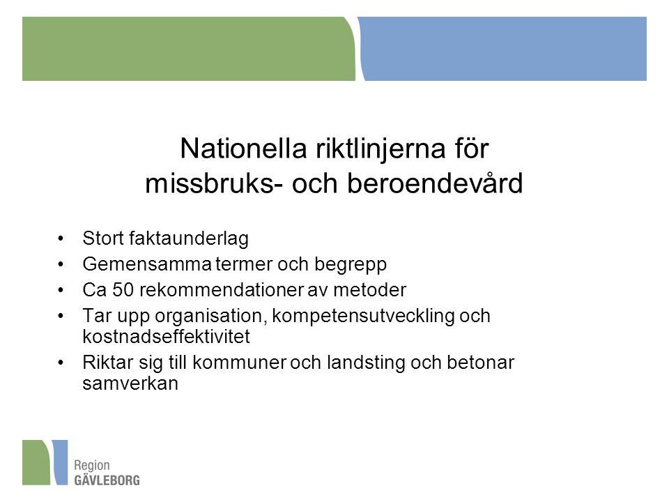 Nationella riktlinjerna för missbruks- och beroendevård Stort faktaunderlag Gemensamma termer och begrepp Ca 50 rekommendationer av metoder Tar upp organisation, kompetensutveckling och kostnadseffektivitet Riktar sig till kommuner och landsting och betonar samverkan