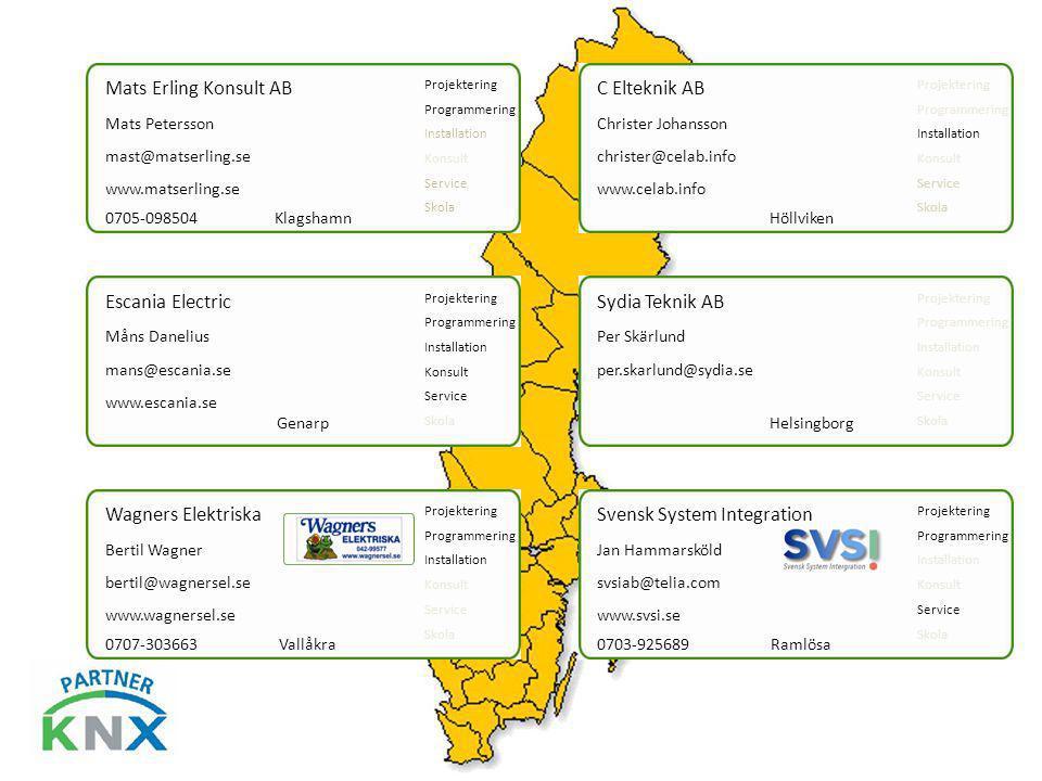 Mats Erling Konsult AB mast@matserling.se Mats Petersson www.matserling.se Projektering Programmering Installation Konsult Service Skola 0705-098504 K