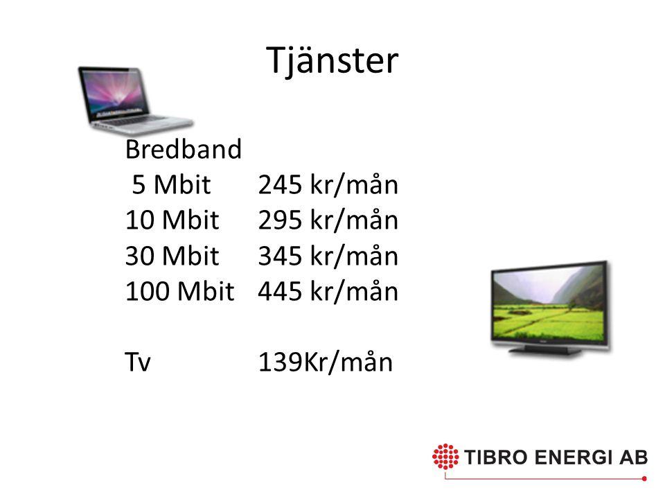 Tjänster Bredband 5 Mbit 245 kr/mån 10 Mbit 295 kr/mån 30 Mbit345 kr/mån 100 Mbit445 kr/mån Tv 139Kr/mån