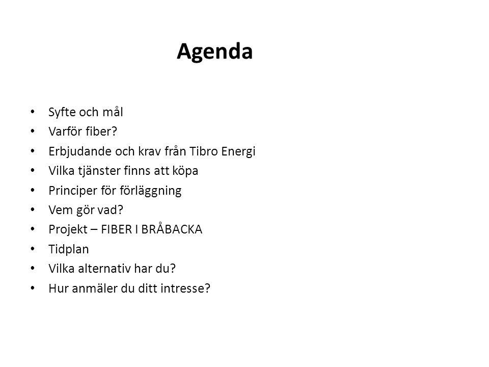 Agenda Syfte och mål Varför fiber? Erbjudande och krav från Tibro Energi Vilka tjänster finns att köpa Principer för förläggning Vem gör vad? Projekt
