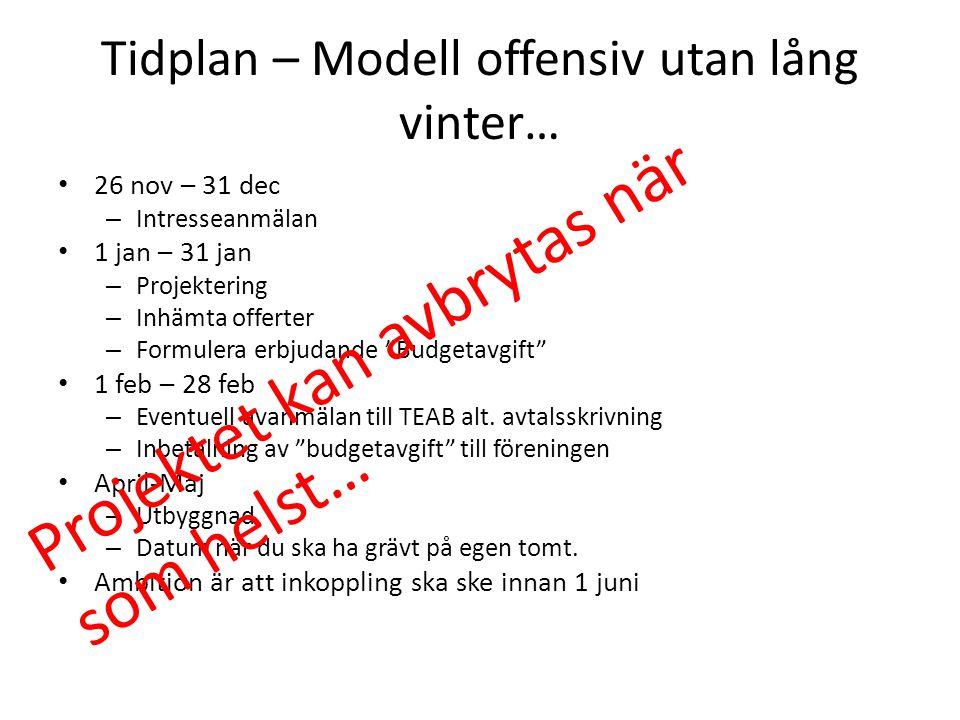 Tidplan – Modell offensiv utan lång vinter… 26 nov – 31 dec – Intresseanmälan 1 jan – 31 jan – Projektering – Inhämta offerter – Formulera erbjudande