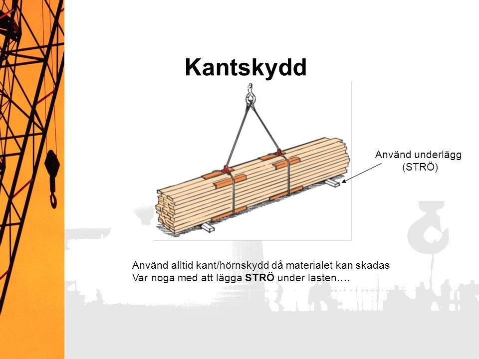 Kantskydd Använd underlägg (STRÖ) Använd alltid kant/hörnskydd då materialet kan skadas Var noga med att lägga STRÖ under lasten….