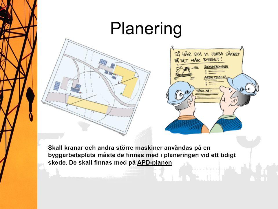 Planering Skall kranar och andra större maskiner användas på en byggarbetsplats måste de finnas med i planeringen vid ett tidigt skede. De skall finna