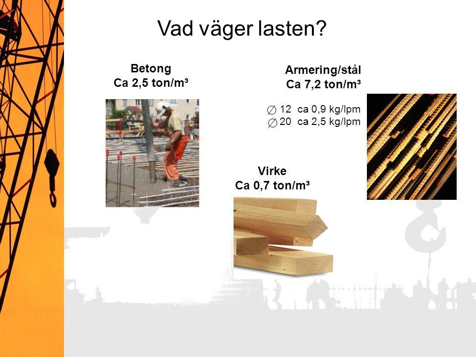 12ca 0,9 kg/lpm 20ca 2,5 kg/lpm Armering/stål Ca 7,2 ton/m³ Betong Ca 2,5 ton/m³ Virke Ca 0,7 ton/m³ Vad väger lasten?