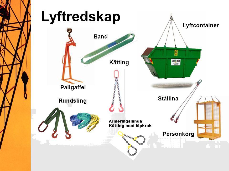 Lyftredskap Rundsling Kätting Armeringslänga Kätting med löpkrok Lyftcontainer Personkorg Pallgaffel Band Stållina