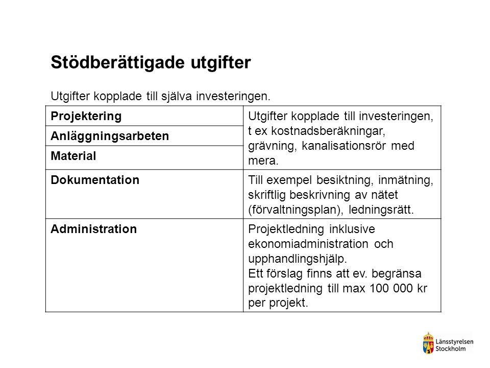 Budget för bredbandsstöd 3 250 000 000 kronor budgeterat nationellt 2 055 000 000 kr säkrade 2014-2020 (JV-beslut 27 juni) 195 000 000 (6 %) i resultatreserv till 2019 1 000 000 000 behåller SJV till senare fördelning Regional fördelning till Stockholms län 96 867 406 kronor 2014-2020 (4,71 %)