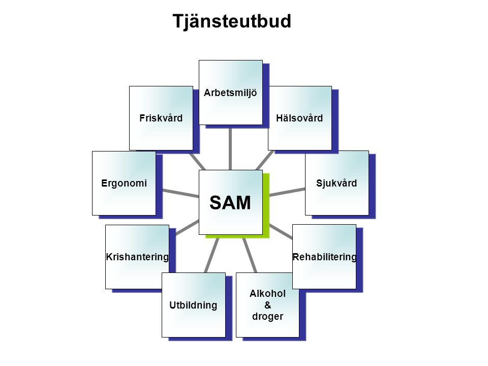SAM ArbetsmiljöHälsovårdSjukvårdRehabilitering Alkohol & droger UtbildningKrishanteringErgonomiFriskvård Tjänsteutbud