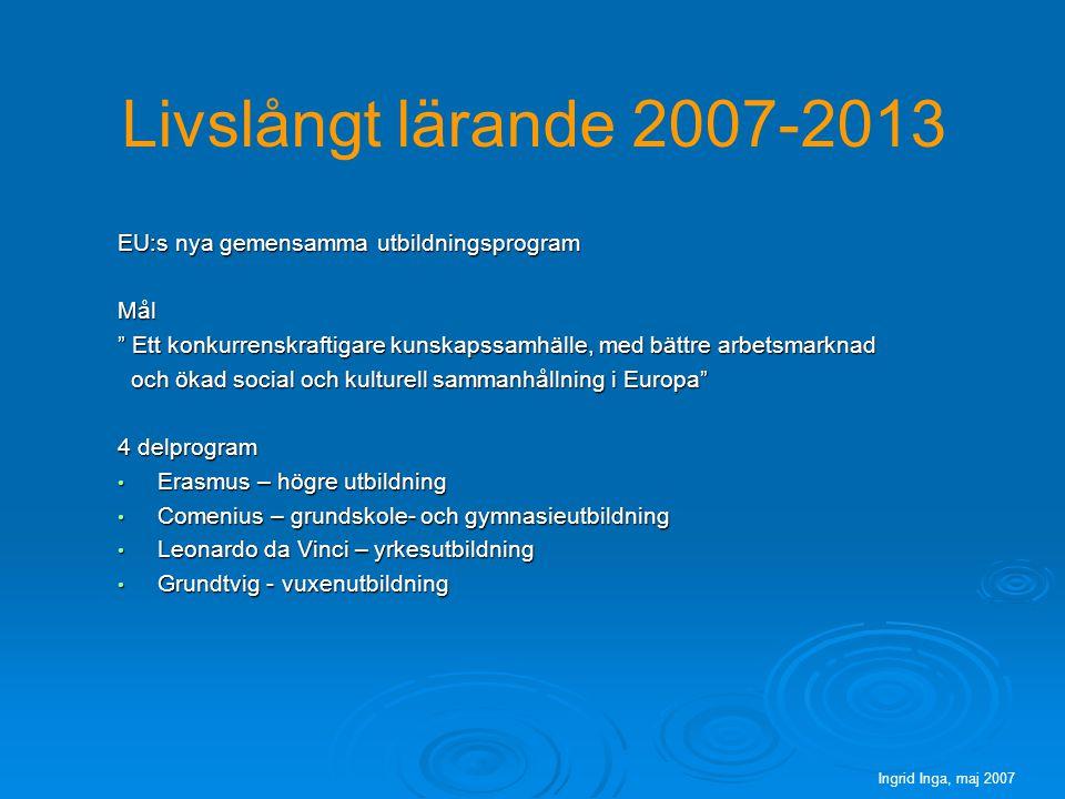 Livslångt lärande 2007-2013 EU:s nya gemensamma utbildningsprogram Mål Ett konkurrenskraftigare kunskapssamhälle, med bättre arbetsmarknad och ökad social och kulturell sammanhållning i Europa och ökad social och kulturell sammanhållning i Europa 4 delprogram Erasmus – högre utbildning Erasmus – högre utbildning Comenius – grundskole- och gymnasieutbildning Comenius – grundskole- och gymnasieutbildning Leonardo da Vinci – yrkesutbildning Leonardo da Vinci – yrkesutbildning Grundtvig - vuxenutbildning Grundtvig - vuxenutbildning Ingrid Inga, maj 2007
