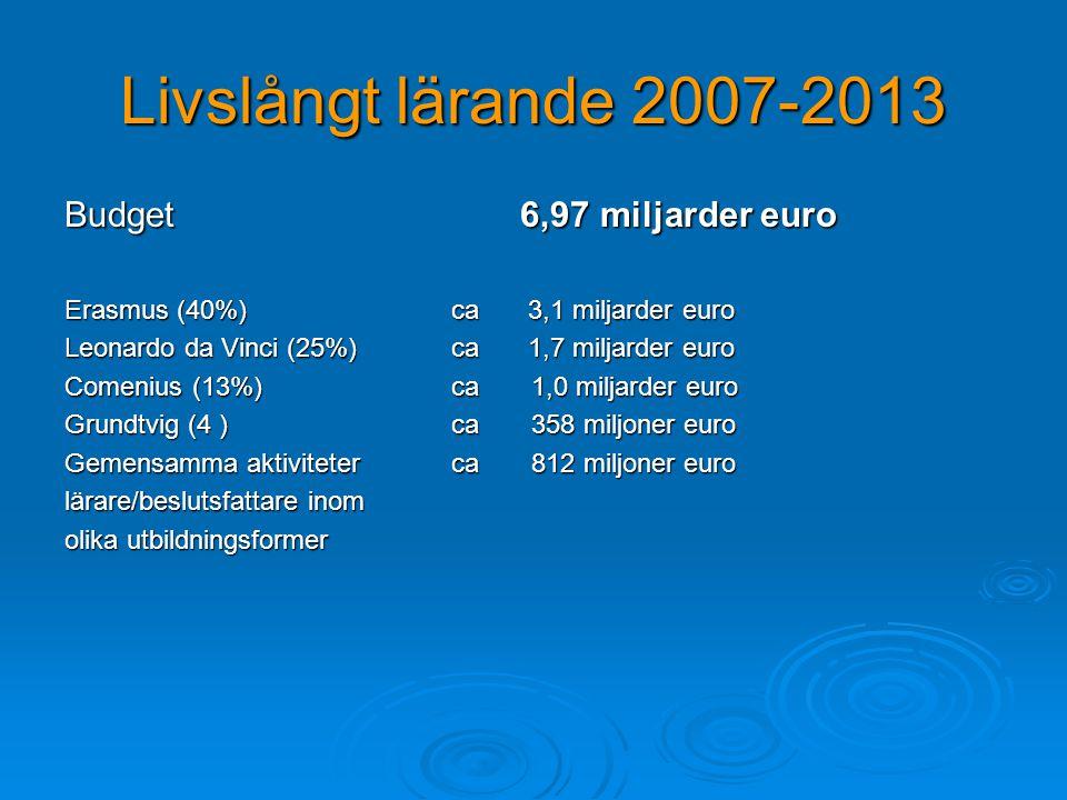 Livslångt lärande 2007-2013 Budget 6,97 miljarder euro Erasmus (40%) ca 3,1 miljarder euro Leonardo da Vinci (25%) ca 1,7 miljarder euro Comenius (13%) ca 1,0 miljarder euro Grundtvig (4 ) ca 358 miljoner euro Gemensamma aktiviteter ca 812 miljoner euro lärare/beslutsfattare inom olika utbildningsformer