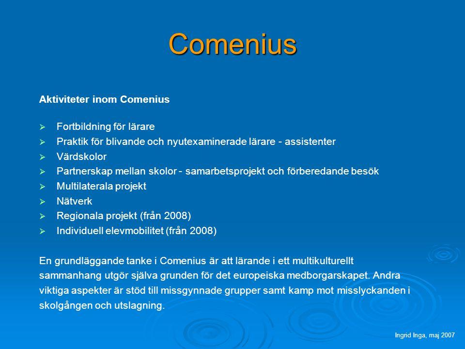 Comenius Aktiviteter inom Comenius   Fortbildning för lärare   Praktik för blivande och nyutexaminerade lärare - assistenter   Värdskolor   Partnerskap mellan skolor - samarbetsprojekt och förberedande besök   Multilaterala projekt   Nätverk   Regionala projekt (från 2008)   Individuell elevmobilitet (från 2008) En grundläggande tanke i Comenius är att lärande i ett multikulturellt sammanhang utgör själva grunden för det europeiska medborgarskapet.