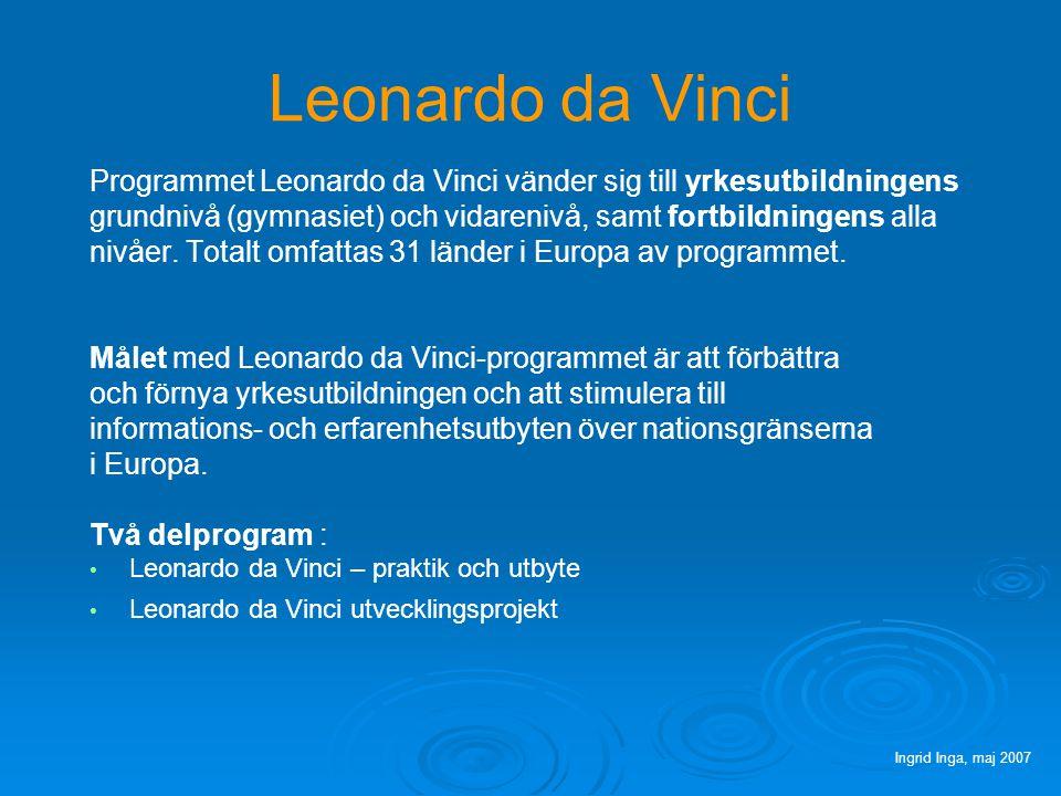 Leonardo da Vinci Programmet Leonardo da Vinci vänder sig till yrkesutbildningens grundnivå (gymnasiet) och vidarenivå, samt fortbildningens alla nivåer.