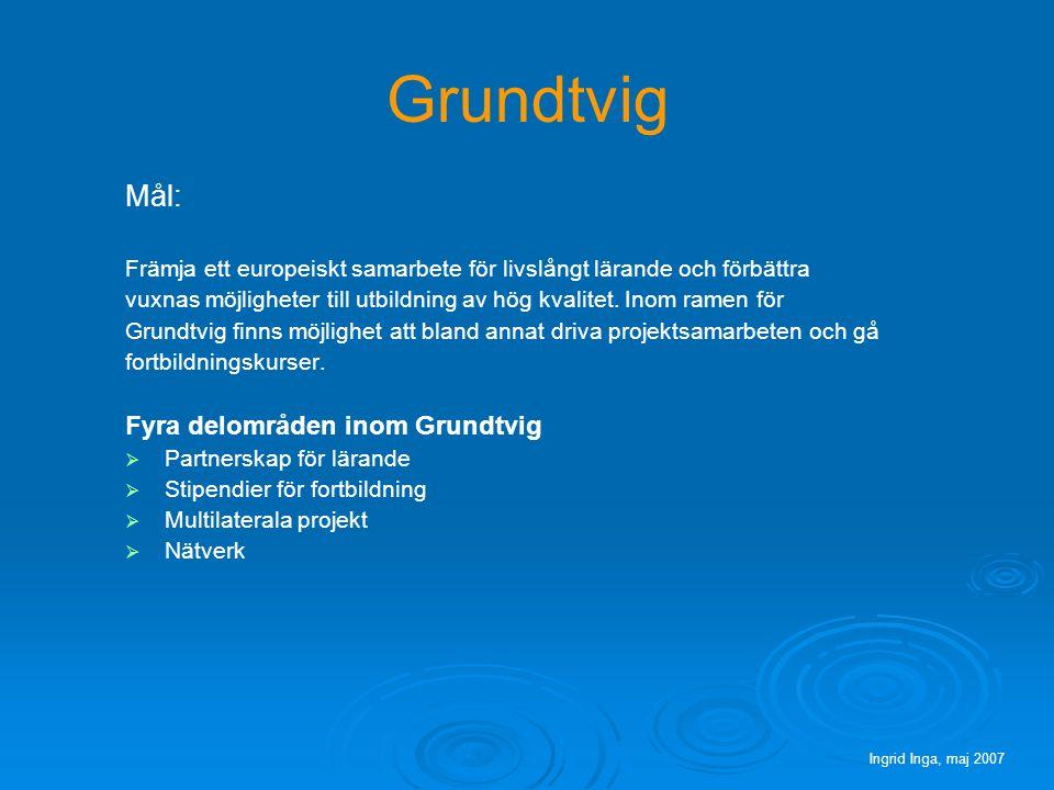 Grundtvig Mål: Främja ett europeiskt samarbete för livslångt lärande och förbättra vuxnas möjligheter till utbildning av hög kvalitet.