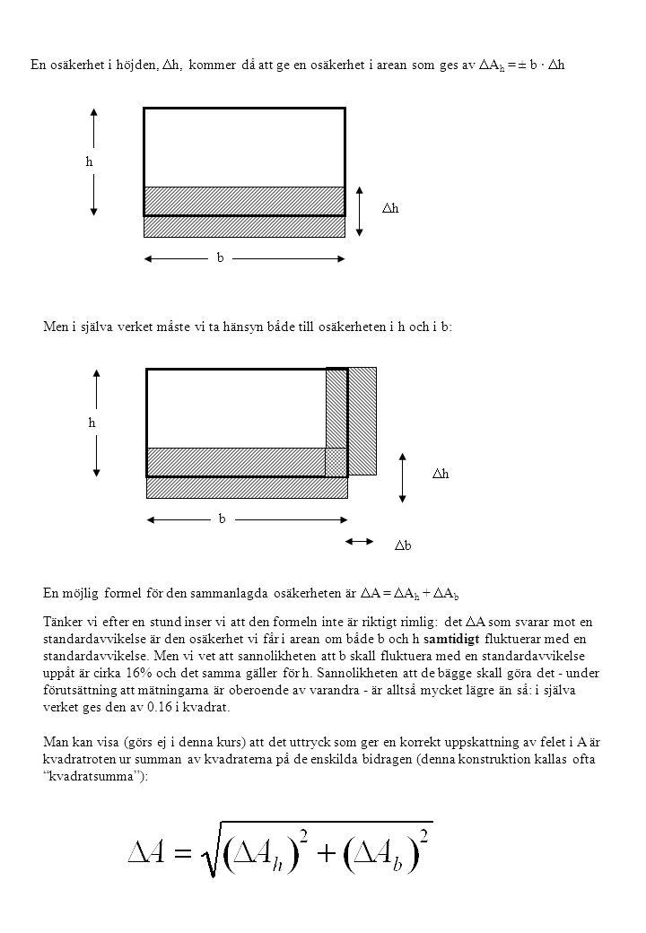 h b En osäkerhet i höjden,  h, kommer då att ge en osäkerhet i arean som ges av  A h = ± b ·  h hh h b hh bb Men i själva verket måste vi ta