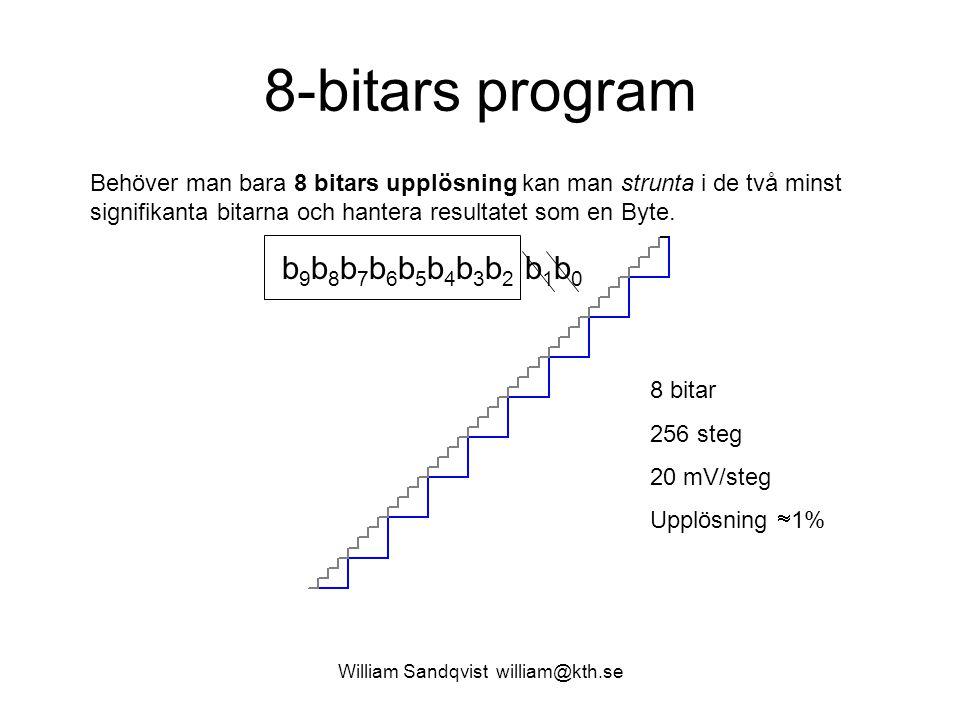 William Sandqvist william@kth.se 8 bitar 256 steg 20 mV/steg Upplösning  1% b 9 b 8 b 7 b 6 b 5 b 4 b 3 b 2 b 1 b 0 Behöver man bara 8 bitars upplösning kan man strunta i de två minst signifikanta bitarna och hantera resultatet som en Byte.