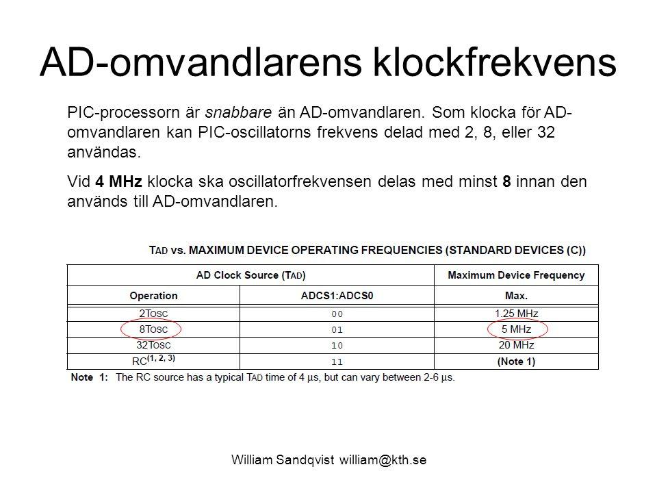 William Sandqvist william@kth.se AD-omvandlarens klockfrekvens PIC-processorn är snabbare än AD-omvandlaren.