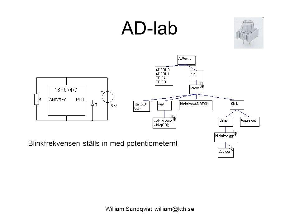 William Sandqvist william@kth.se AD-lab Blinkfrekvensen ställs in med potentiometern!