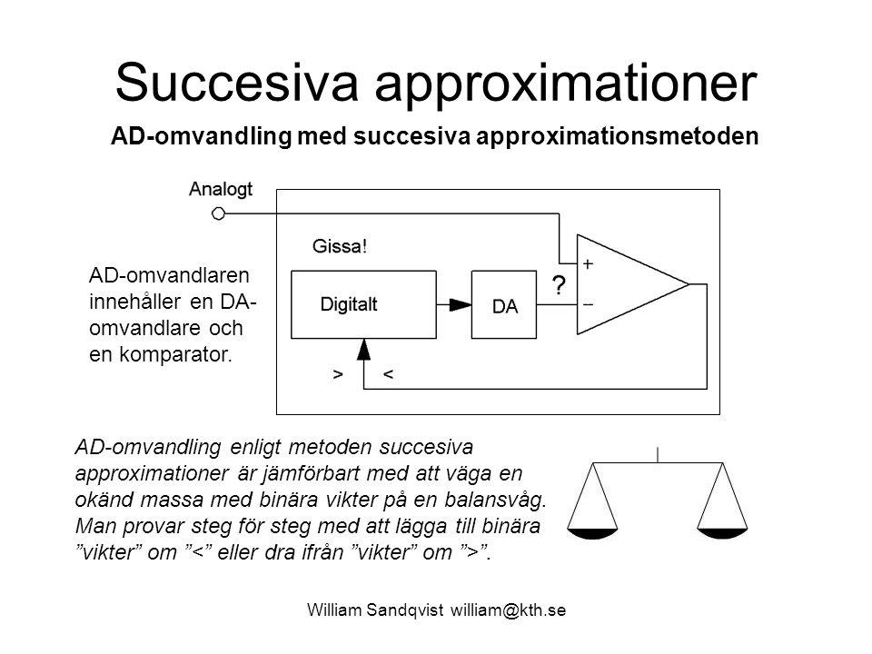William Sandqvist william@kth.se Succesiva approximationer AD-omvandling med succesiva approximationsmetoden AD-omvandling enligt metoden succesiva approximationer är jämförbart med att väga en okänd massa med binära vikter på en balansvåg.