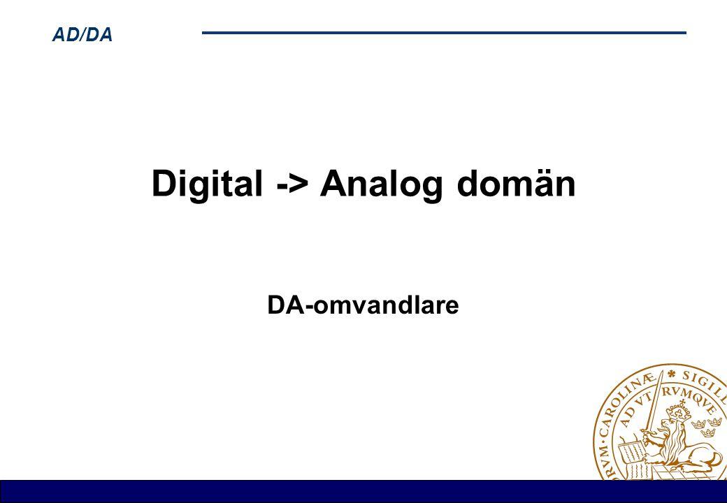 AD/DA Digital -> Analog domän DA-omvandlare