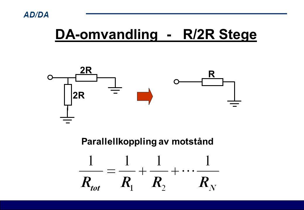 AD/DA DA-omvandling - R/2R Stege 2R R Parallellkoppling av motstånd