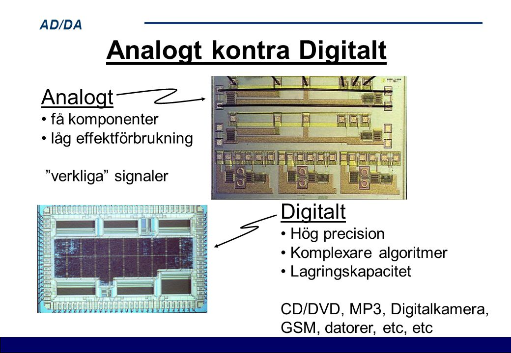 AD/DA Analog till Digital omvandling Lågpass filter Sample & Hold A/D omvandling Klocksignal Analog In Digital ut Filtrerad analog signal Samplad signal Antiviknings- filter