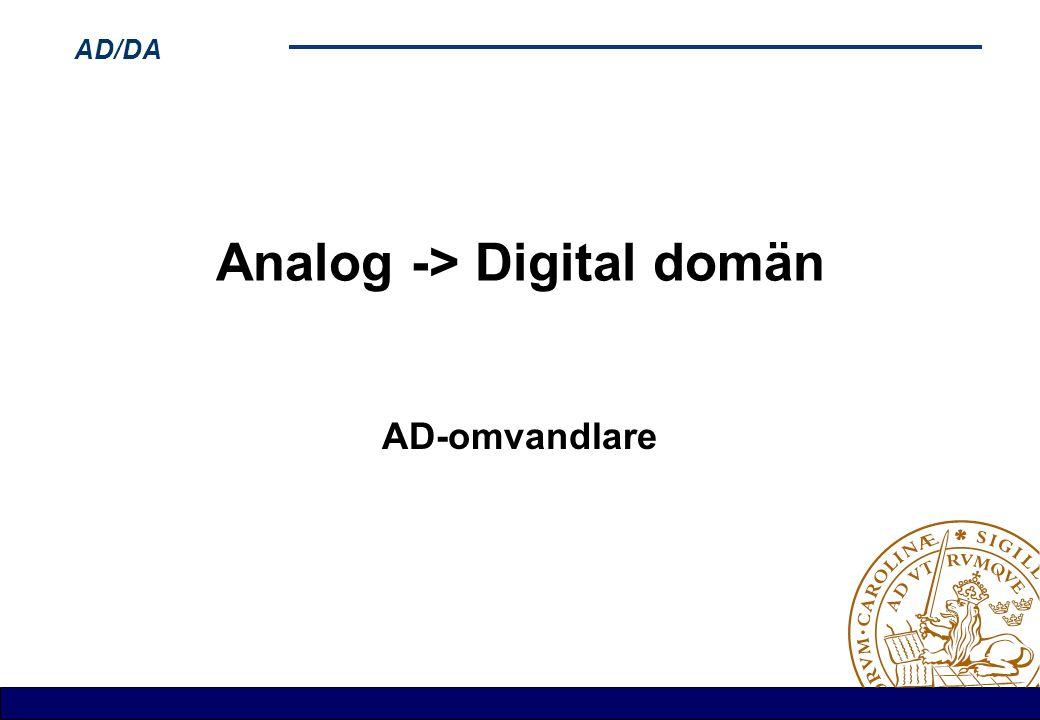 AD/DA Analog -> Digital domän AD-omvandlare