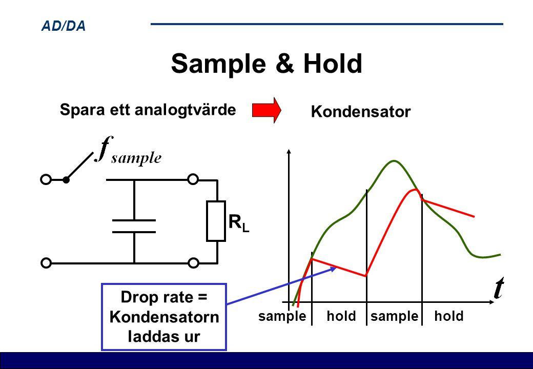AD/DA Sample & Hold hold sample Spara ett analogtvärde Kondensator hold sample Drop rate = Kondensatorn laddas ur RLRL